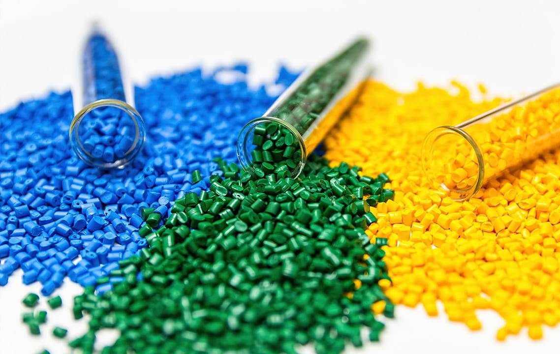 Plastics green blue and yellow for engineering