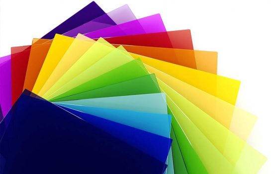 Sheets of colourful plastic